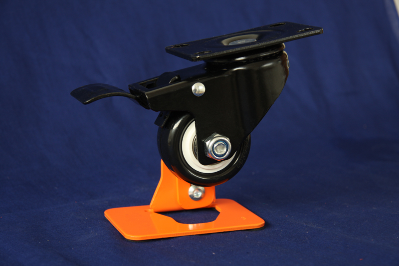 Medium duty PU swivel caster with brake